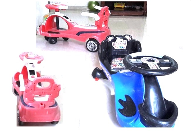 plasmacar ride on toy - red and blue