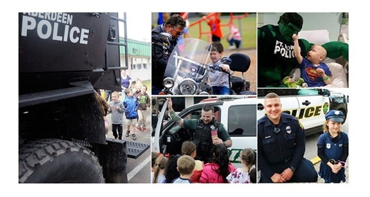 police spending time with kids